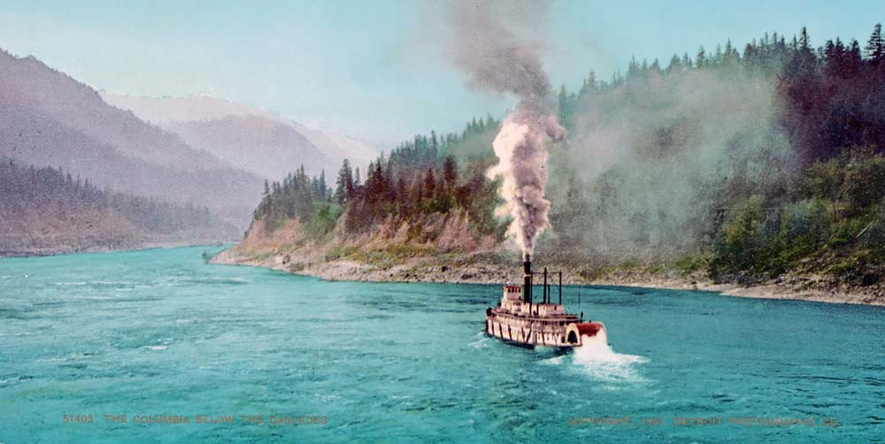 old postcard of paddle steamer
