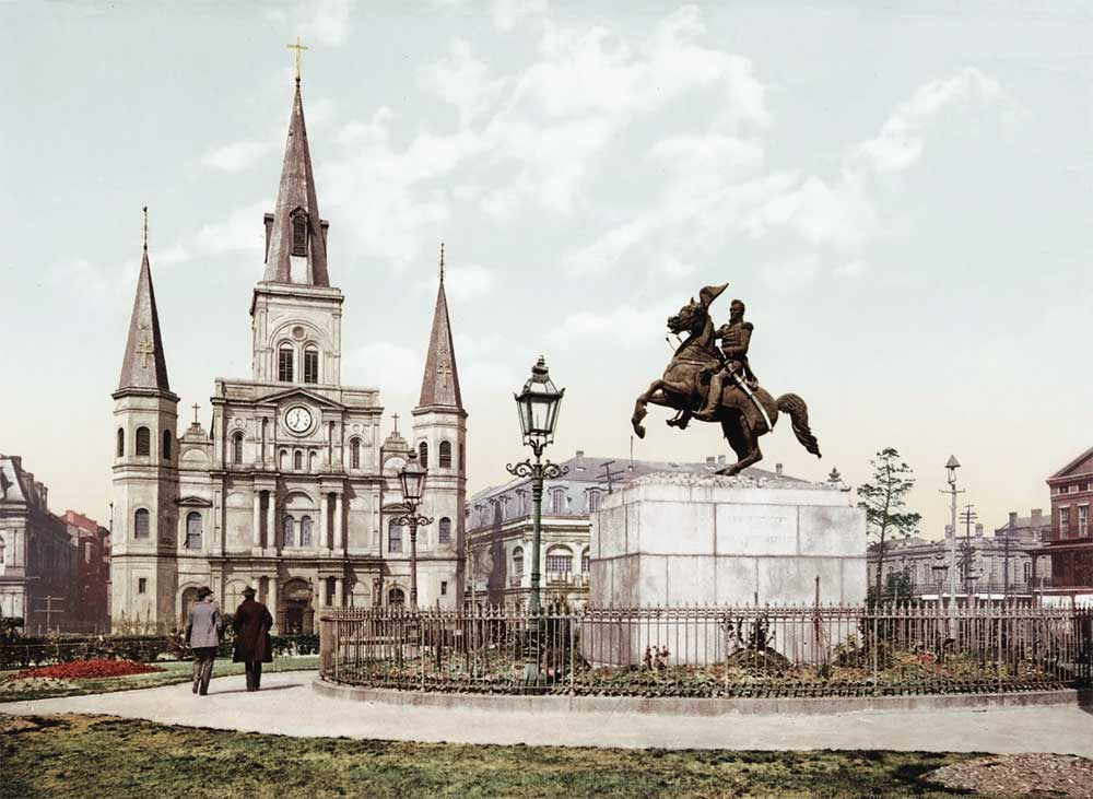 old postcard of Jackson Square
