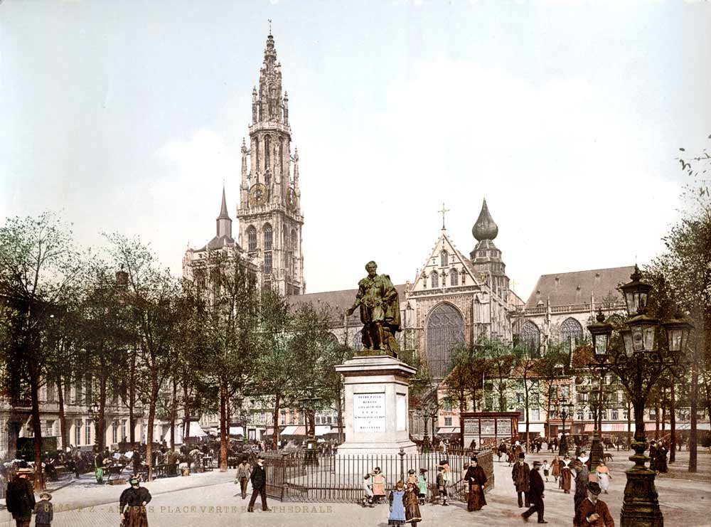 Old postcard of Antwerp
