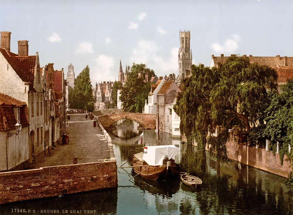 Old postcard of Bruges