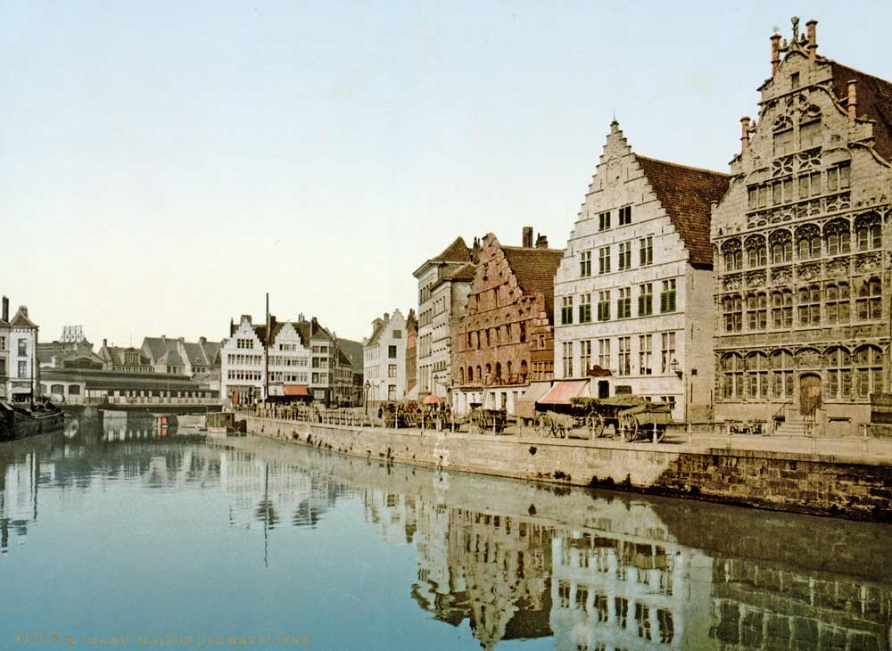 Old postcard of Ghent, Belgium