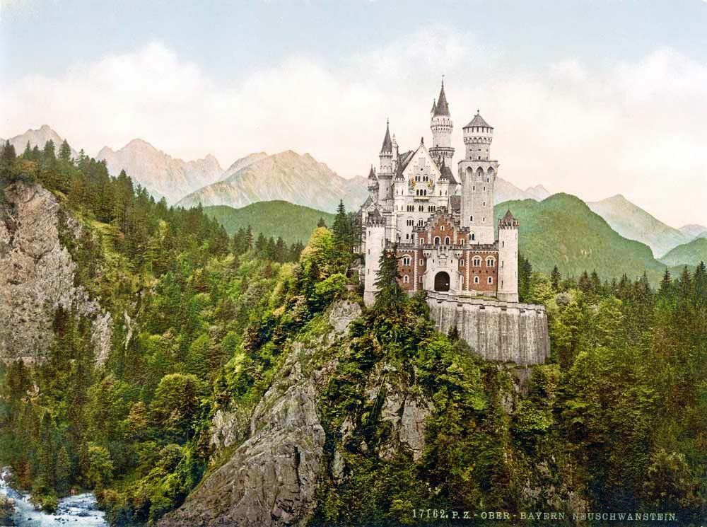Old postcard of castle Neuschwanstein