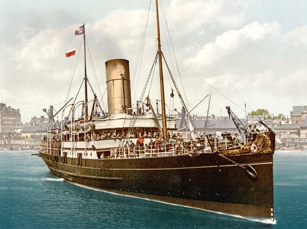 Old postcard of a steamship