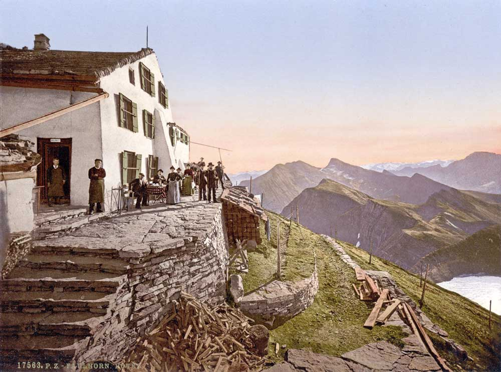 Old postcard of a hotel in the Swiss mountains