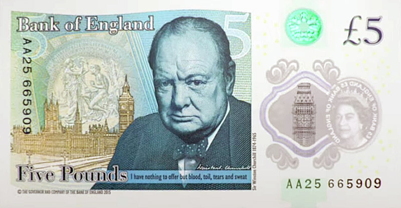 Polymer banknote 'The New Fiver' printed by De La Rue