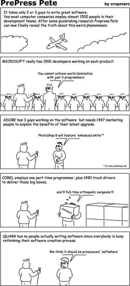 Cartoon about big software teams