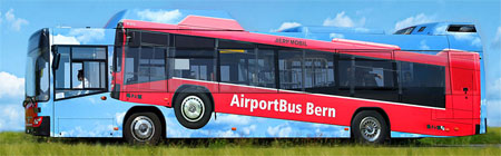 Wrap advertising on a bus - Bern Airport