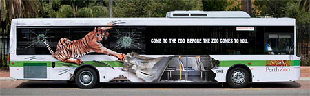 Wrap advertising on a bus - Perth Zoo