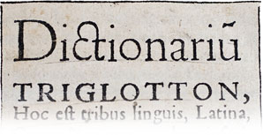 Trilingual dictionary from the 17th century