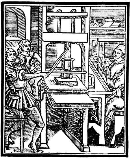 A printer operates a Gutenberg press