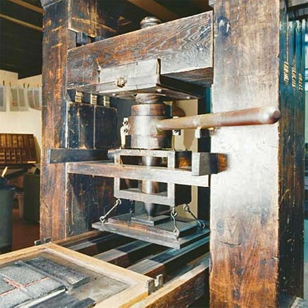 a printing press from the Gutenberg era
