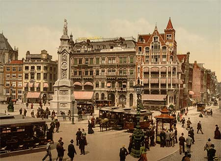 A postscard of Dam Square in Amsterdam, creating using the Aac process