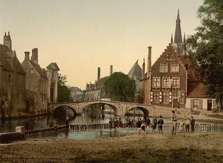 A postcard of the Beguinage of Bruges, Belgium - printed using the Aac process