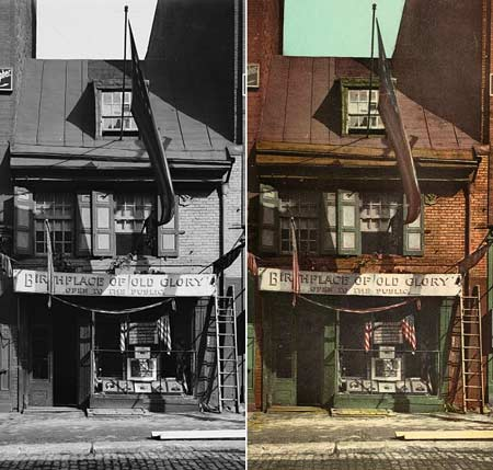 A black and white photo and the resulting photochrom color print