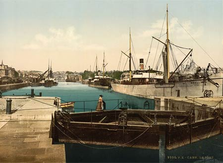 Historic photo of the harbor of Caen in France