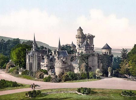 Historic photograph of the Wilhelmshohe lower castle in Cassel, Germany