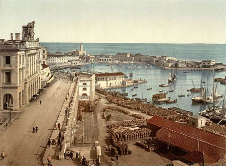 Historic photo of the admirality and harbor of Algiers in Algeria