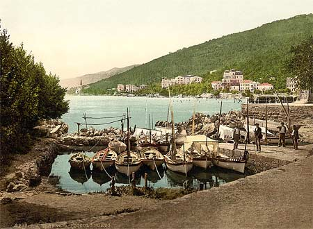 Historic photo of the harbor of Abbazia in Istria, Austro-Hungary