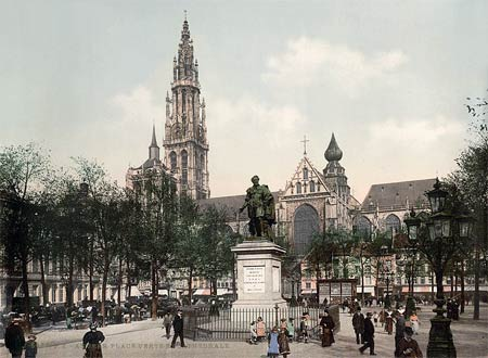 Historic photo of the main square and cathedral of Antwerp, Belgium