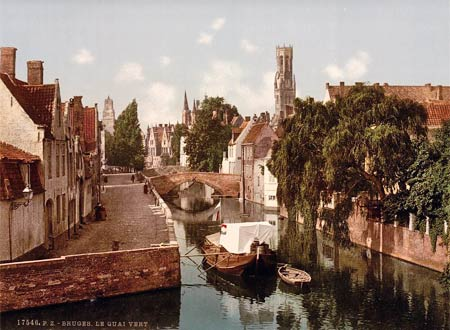 Historic photo of the Groenerei in Brugge, Belgium