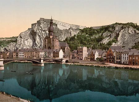 Historic photo of the fortress and church of the city of Dinant