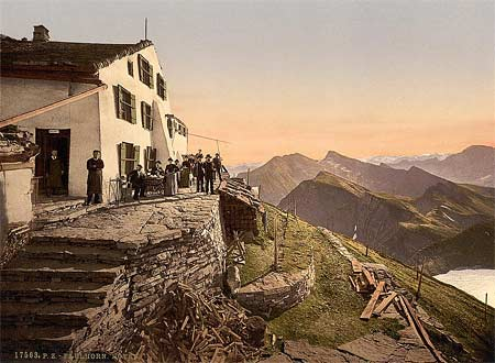 An old postcard from Switzerland, created using the Aac process
