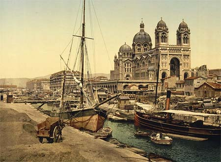 An old postcard of the harbor of Marseille, France
