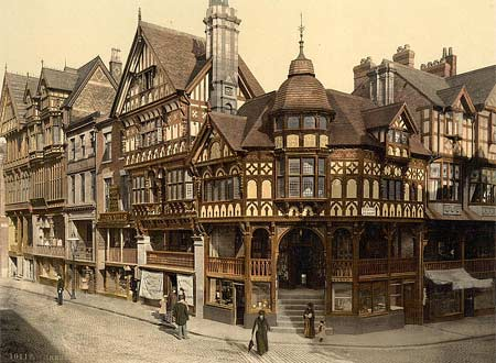 Historical photograph from around 1895 of the Cross And Rows in Chester