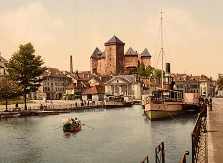Historic photo of the harbor and chateau fort of Annecy in France