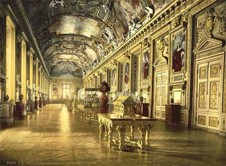 An old postcard of a gallery of the Louvre museum in Paris, France