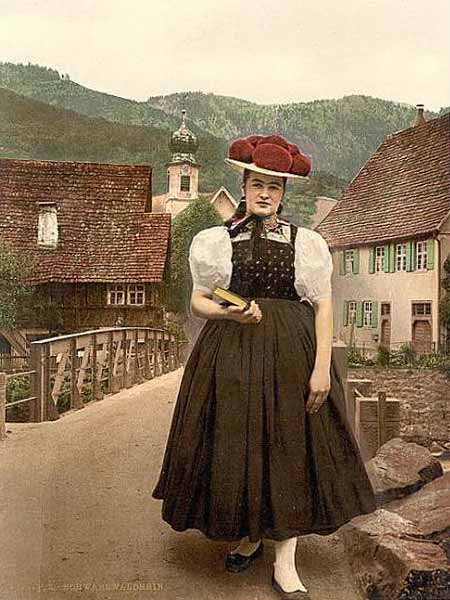 Historic photo of a girl in the Black Forest region, Germany