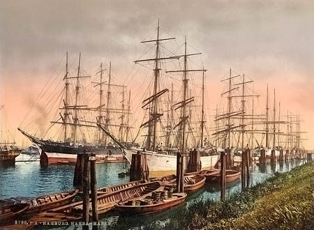 Hostorical photograph of sailing ships moored in Hamburg, Germany