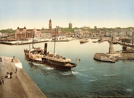 Historical photograph of a steam boat entering the harbor of Helsingborg, Sweden
