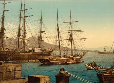 Historical photograph of sailing boats in the harbor of Naples, Italy