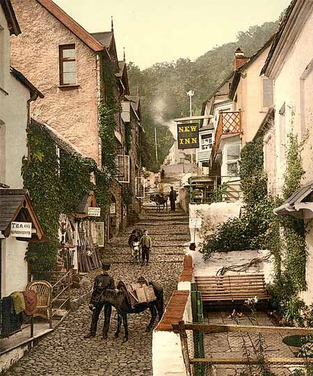Historical photograph of High Street in Clovelly, England