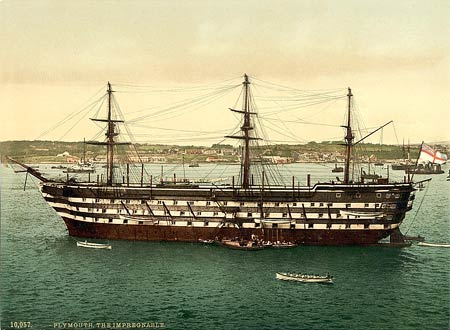 Historical photograph of a training ship in Plymouth, England
