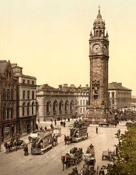Historic photo of the Albert Memorial in Belfast, Ireland