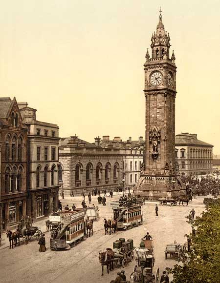 Historic photo of the Albert Memorial in Belfast, Ireland
