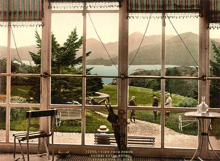 Historic photo of the view from  the Roches Royal hotel in Glengariff