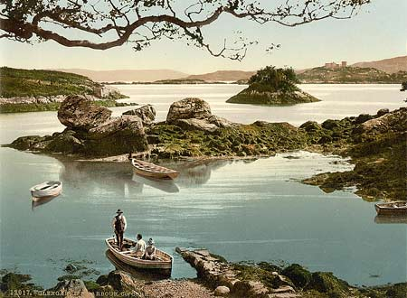 Historical photograph of Glengariff harbor in County Cork, Ireland