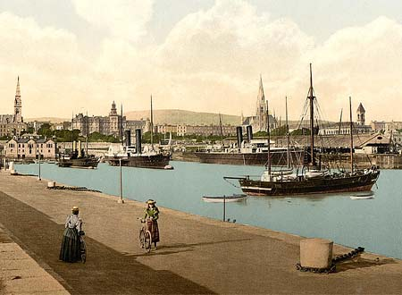 Historical photograph of the harbor of Kingstown in county Dublin, Ireland