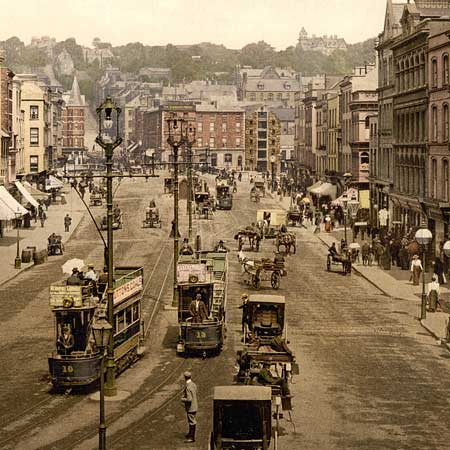 Historical photograph of Saint Patrick street in Cork, Ireland