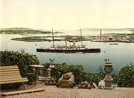 Historic photo of of a steamer in the harbour of Queenstown, Ireland