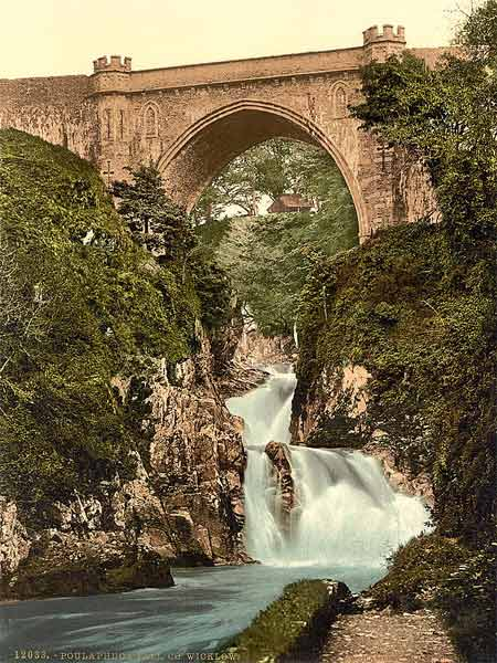 Historic photo of Poulaphuca Fall in Wicklow county, Ireland