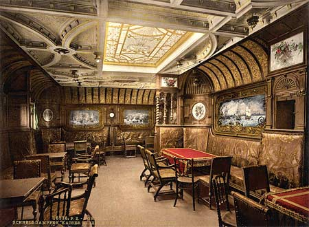 Historical photograph of the smoking room of a steam boat