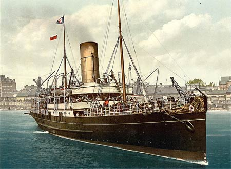 Old postcard from around 1890 of the 'Lydia', a ship in England