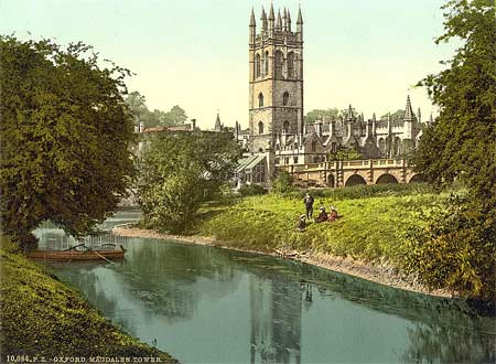 A historical postcard of Magdalen Tower in Oxford, England
