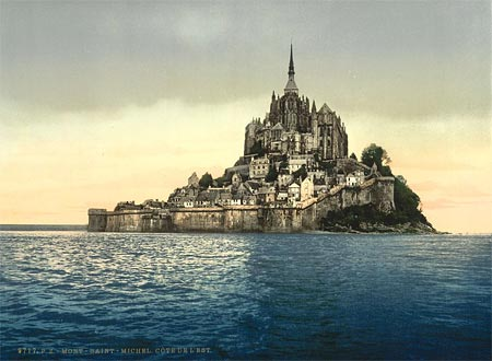 An old postcard of the Mont Saint=Michel in France, created using the Aac process