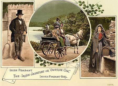 An old postcard depicting an Irish peasant, a peasant girl and a jaunting