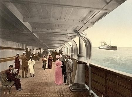 Historical photograph of the deck of a steam boat